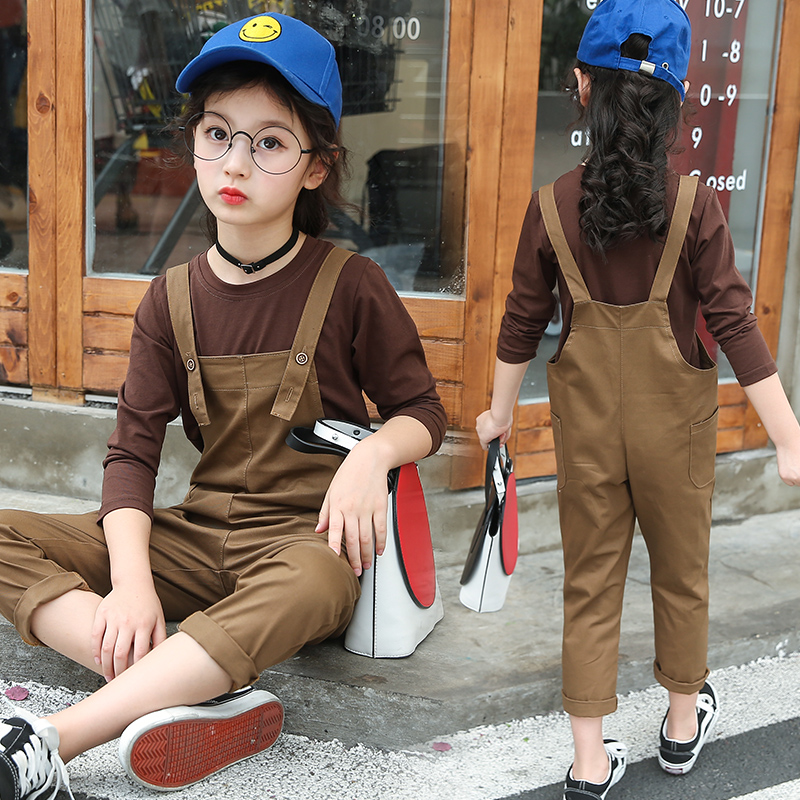 Girls Clothing Sets Cotton T-shirts + Jumpsuits Overalls 2 Pcs Long Sleeve Girls Outfits Students Autumn Costume School Uniforms