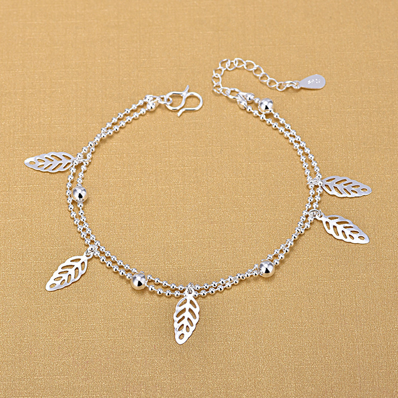 Bijoux Vintage Double Layer Hollow Leaves Charm Bracelet For Women 925 Sterling Silver Jewelry