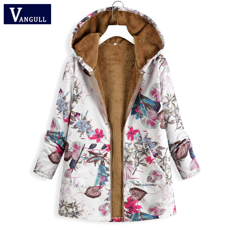 Plus size 5XL Casual New Style Winter Women's Clothing printed Hooded plush Tops Coats Zipper Thick with warm long Women Parkas