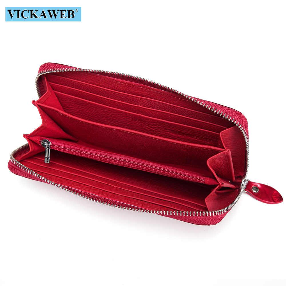 Vickweb wristlet carteira feminina estampas animais carteiras femininas bolsas de couro genuíno senhoras moda zíper bolsa padrão carteiras
