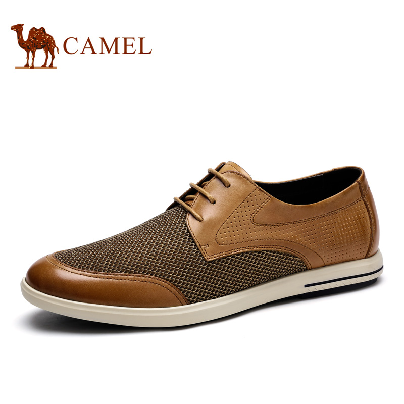 Camel men's shoes 2016 summer new fashion casual leather lace breathable mesh men A622043500 the new spring and summer leather shoes breathable sneaker fashion boots men casual shoes handmade fashion