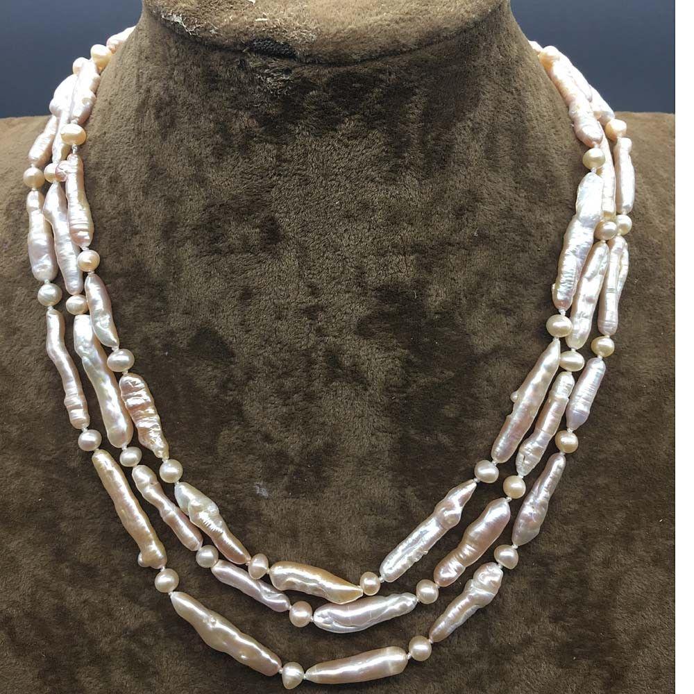 Strand Natural Pink Stick Biwa Pearl Long Beads Statement Collar Necklace