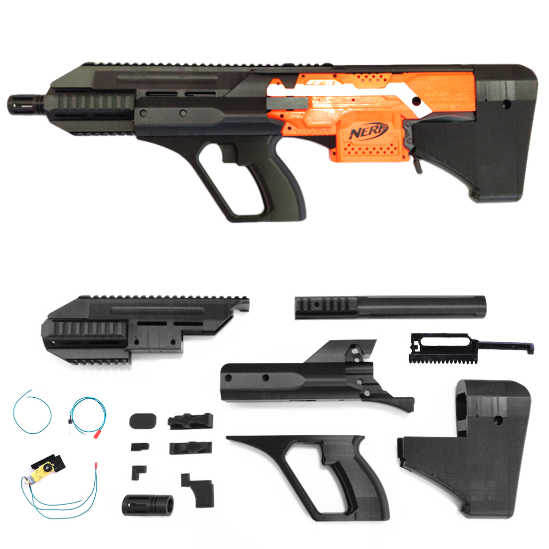 3D Printed A-UG Appearence Modification Kit for Nerf Stryfe - Black Cut Grip Version ug nx6 0实用教程
