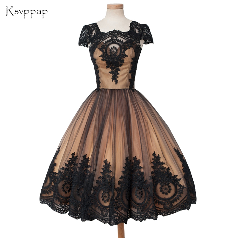 Lovely A-line Cap Sleeve Scoop Neckline Black Lace Champagne Short   Prom     Dress   2016 Party Gowns