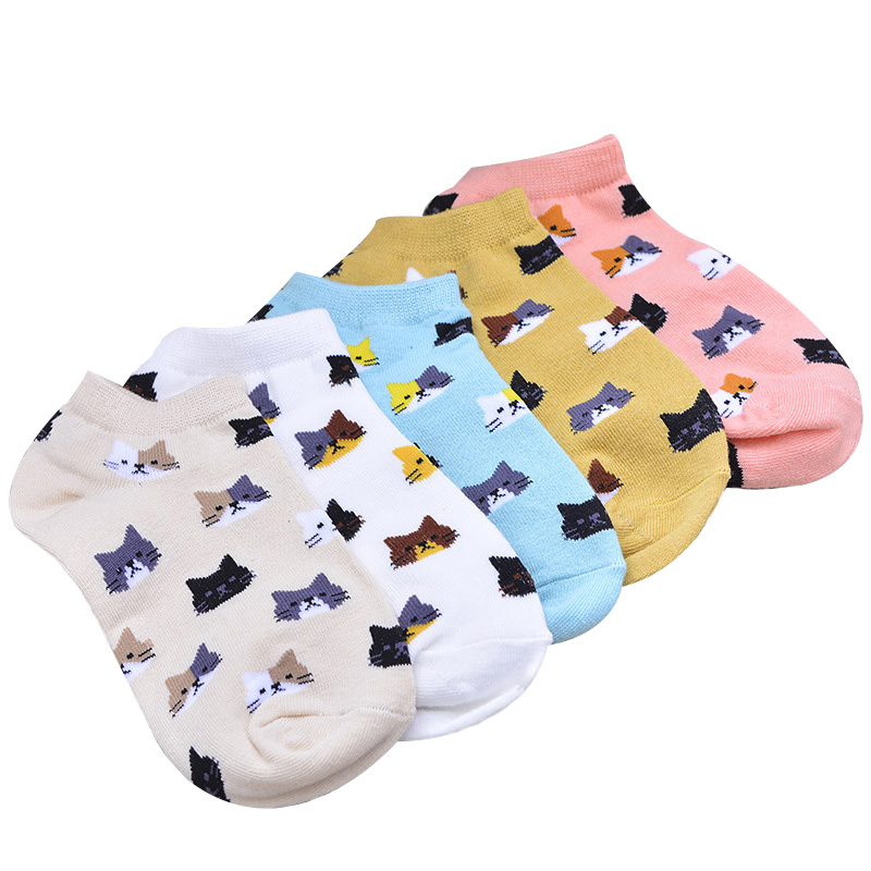 3 Pairs/lot Women's   Socks   Summer Cartoon Cute Cat Face Girls Ankle   Socks   Female Breathable Gentle Color Ladies Funny   Sock   Meias
