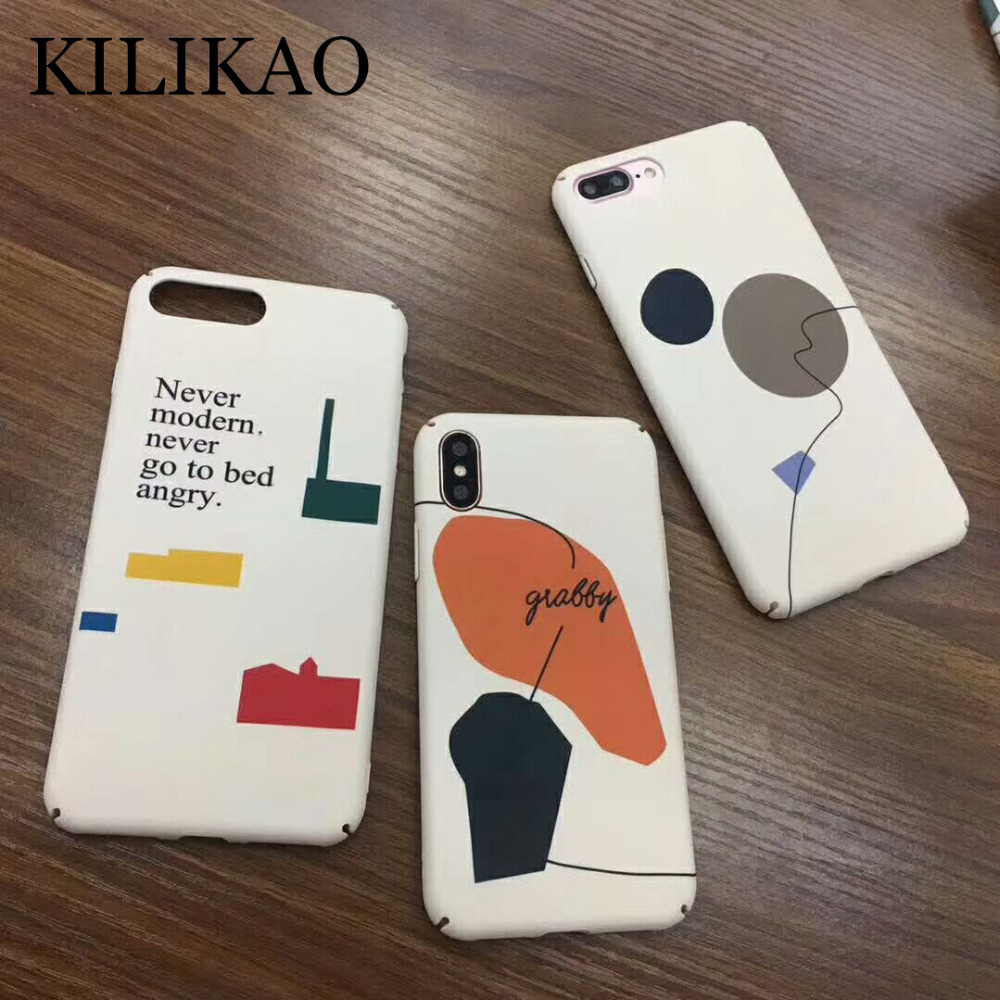 KILIKAO Luxury Fashion Diverse Graphic Hard Back Case For iPhone X Case For iPhone 6 S 6 7 8 Plus Cases Colorful Abstract Cover