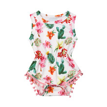 Cute Newborn Bodysuit Cactus Print Tassels Bodysuit One Piece Jumpsuit Playsuit Baby Sunsuit Girls Infant Clothing Body Infantil(China)