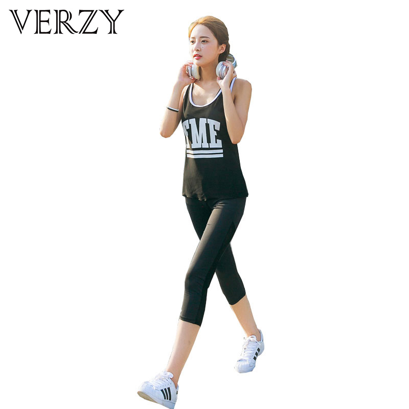 Classic Black and White Letter 3 Pieces Bra+Vest+Pants Women's Yoga Set Breathable Fitness Female Sportswear for Girls Running