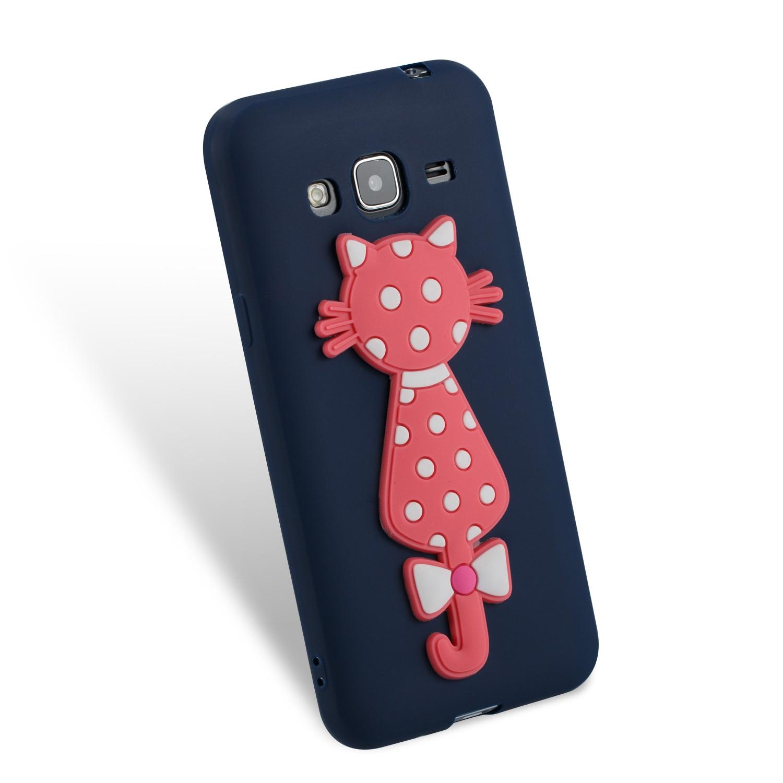 Cute Cartoon SiliconeTPU 3D Cat Cubierta Cover Kryty Shell Bag For Sumsung Samsung Galax Galaxy J3 2016 j 310