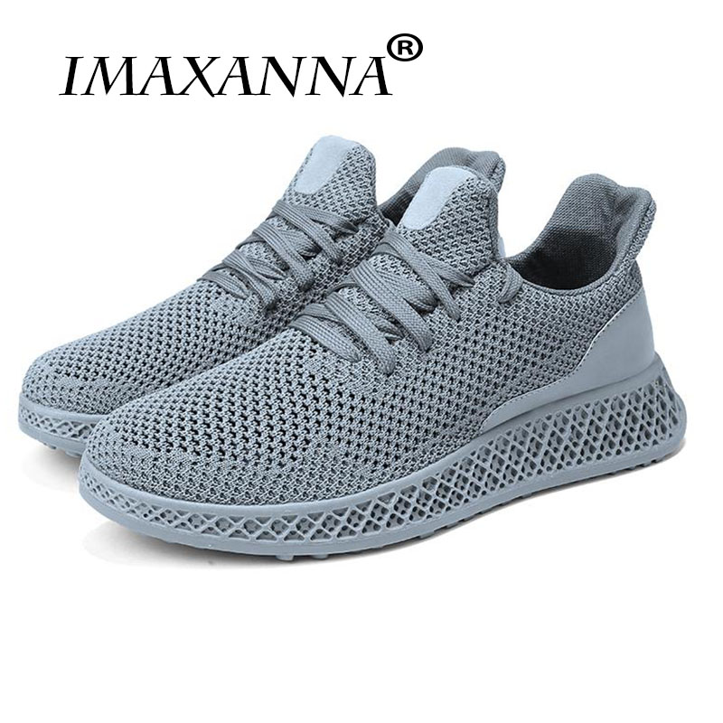 IMAXANNA 2018 new breathable comfortable walking trend sneakers solid red gray black footwear size 39-44 running shoes for menIMAXANNA 2018 new breathable comfortable walking trend sneakers solid red gray black footwear size 39-44 running shoes for men