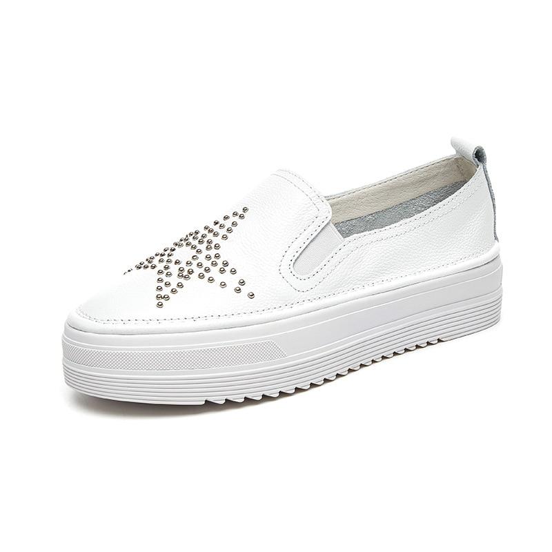 Femmes Mujer De Cuero de Damas Costura Genuino Caminar Chaussures Transpirables Para Las Mujeres Zapatos Slip Casuales 2019 Plataforma twf4AwTq