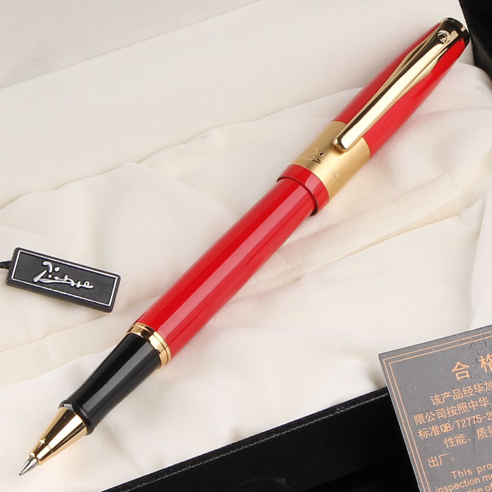 High Quality Writing Stationery Picasso Pimio 923 Luxury Red and Gold Clip Roller Ball Pen 0.7mm Ballpoint Pens Christmas Gift