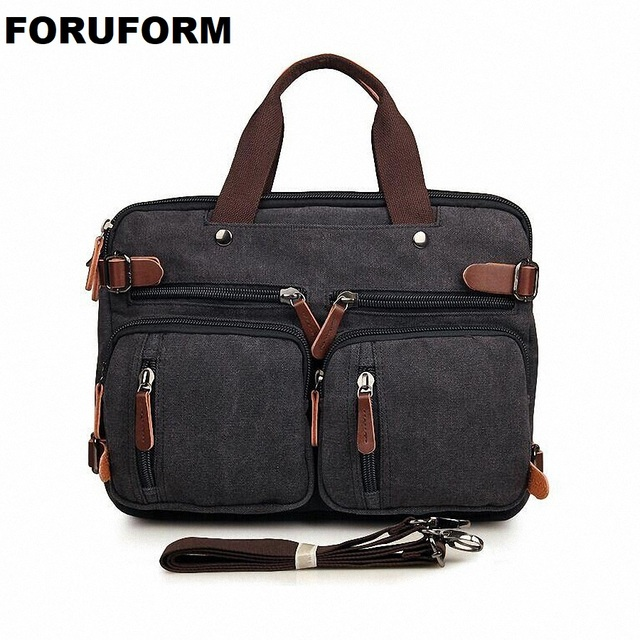 4e9e4adb6fe7 US $42.66 46% OFF|Vintage Many Pockets Crossbody Bag Canvas Shoulder Bag  Men Messenger Bag Men Leather Handbag Tote Briefcase LI 1298 on ...