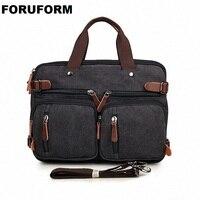 Vintage Many Pockets Crossbody Bag Canvas Shoulder Bag Men Messenger Bag Men Leather Handbag Tote Briefcase LI 1298
