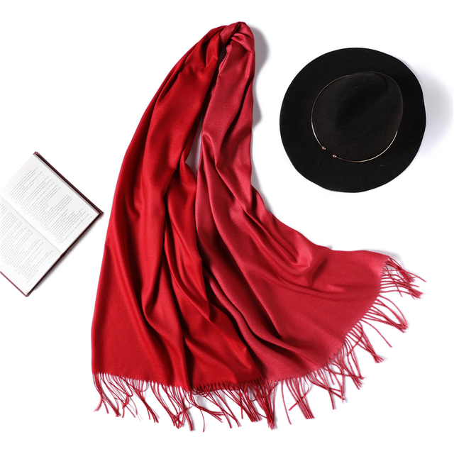 2018 winter women scarf fashion solid soft cashmere scarves for ladies pashmina shawls and wraps bandana female foulard Tassel 4