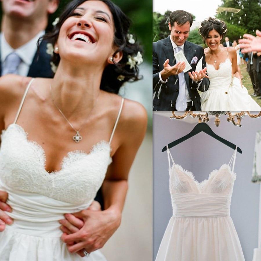 Simple Soft Lace&Satin Spaghetti Straps Sweetheart Neckline Wedding Dress With Pleat Belt Sweep Train A-line Bridal Dress
