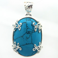 ELEGAN 925 STERLING SILVER BIRU JIMAT KALUNG LIONTIN 35*20mm(China)