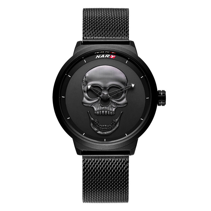 Man Watch 2018 Punk 3D Skull Watch Cool Design Black Watch Stainless Steel Milanese Mesh Band Men Wristwatch Relogio Masculino