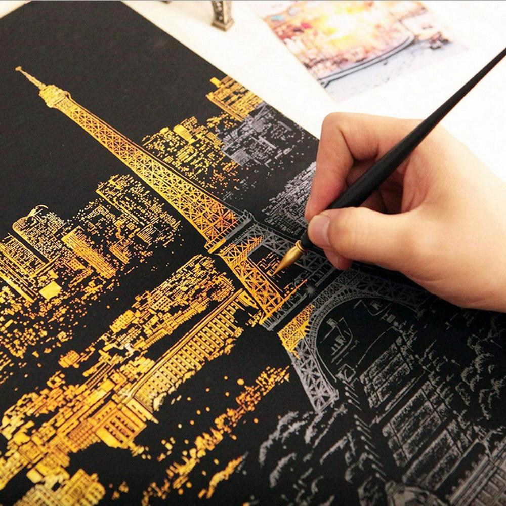 Peinture décorative gratter grattage peinture dessin papier monde visites photos décoration de la maison cadeaux danniversaire