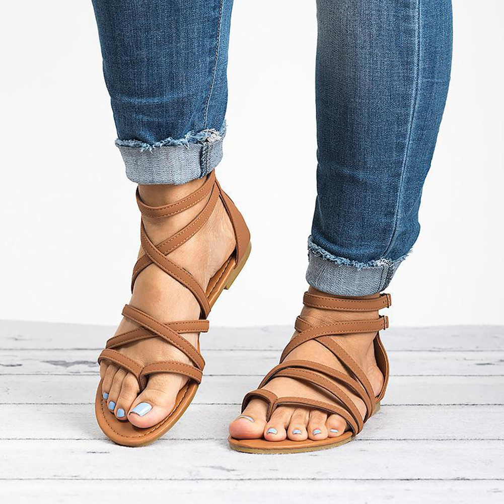Women 39 s Flat Sandals Strappy Crisscross Gladiator Low Flat Heel Summer Wedge Sandals Shoes Buckle PU Brown Beige Sandals Strap in Middle Heels from Shoes