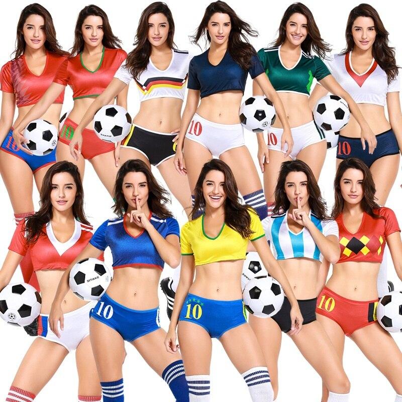 2018 מדים מעודדות תינוק כדורגל כדורגל כדורגל תחפושת נשים מכנסיים קצרים סקסיים ילדה תתעודד לידר סטי ספורט Suit רוסית