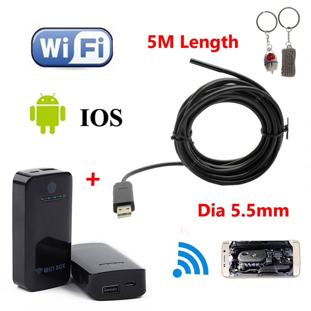 Free shipping!5M 5.5mm 6LED Endoscope Waterproof Inspection Camera Micro USB For WIN7/XP/VISTA + WIFI BOX For IOS And Android