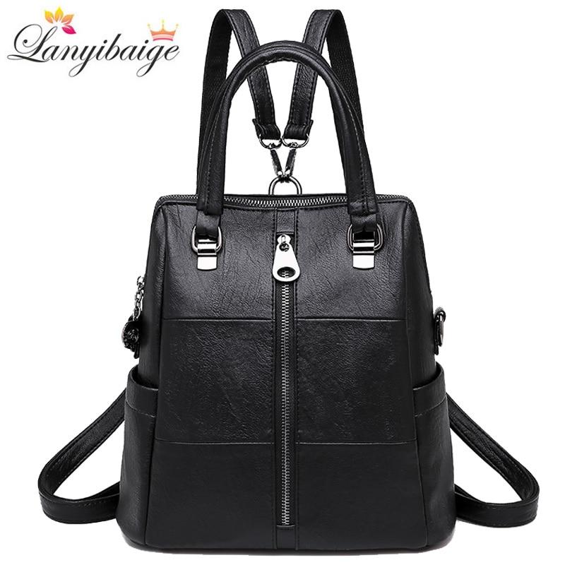 3-in-1 Women Vintage Leather Backpacks 2019 Women Shoulder Bag Backpack Travel Ladies Backpack Mochilas School Bags For Girls