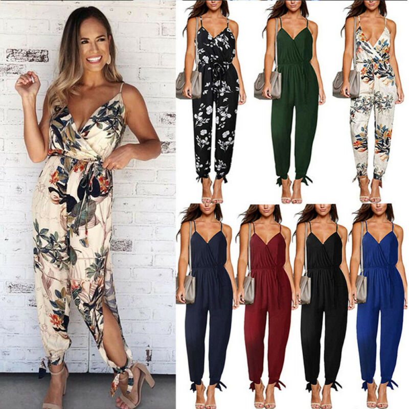 2019 Summer Women Casual Sleeveless V- Neck Jumpsuits Fashion Ladies Flower Print Bodysuit Wide Leg Pants Long Trousers
