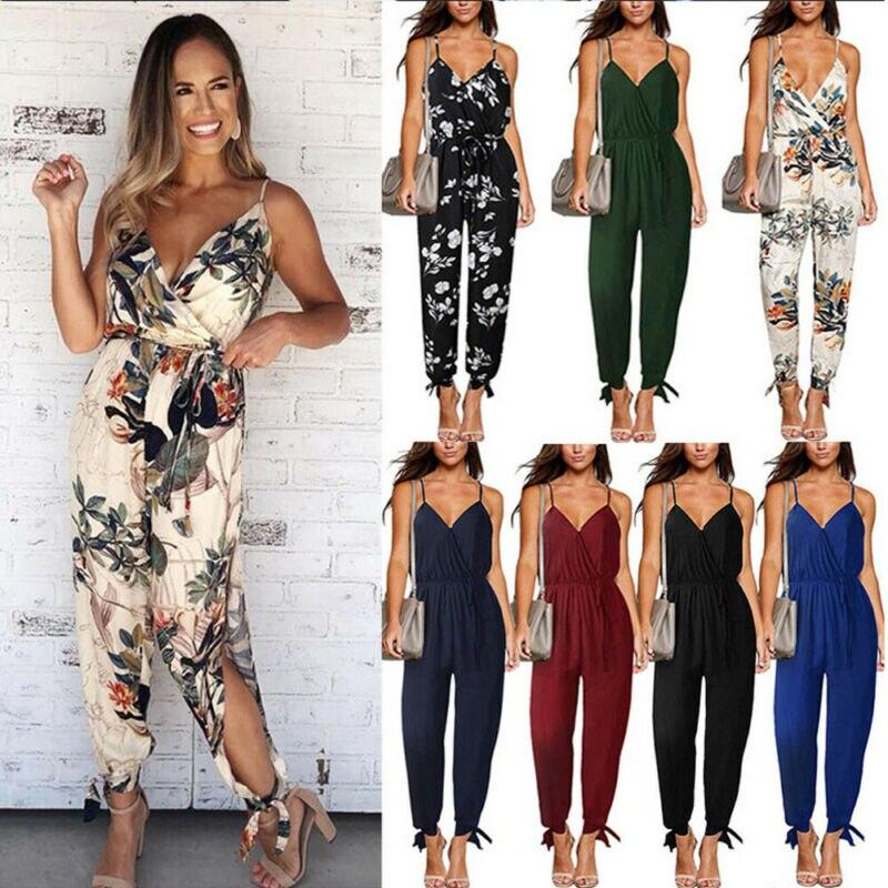 2019 Summer Women Casual Sleeveless V- Neck Jumpsuits Fashion Ladies Flower Print Bodysuit Wide Leg Pants Long Trousers