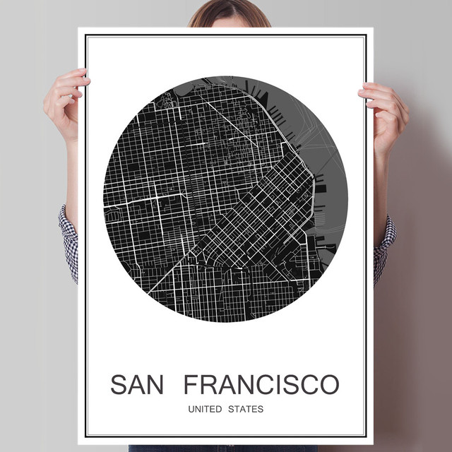 Hot sale san francisco world city map modern poster oil painting canvas coated paper abstract cafe