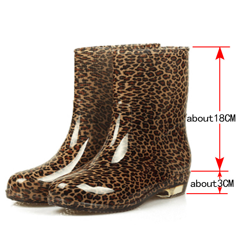 2c49cf98354a HXRZYZ Women rain boots leopard rubber ankle boots spring autumn fashion  PVC black slip resistant waterproof shoes women -in Ankle Boots from Shoes  on ...