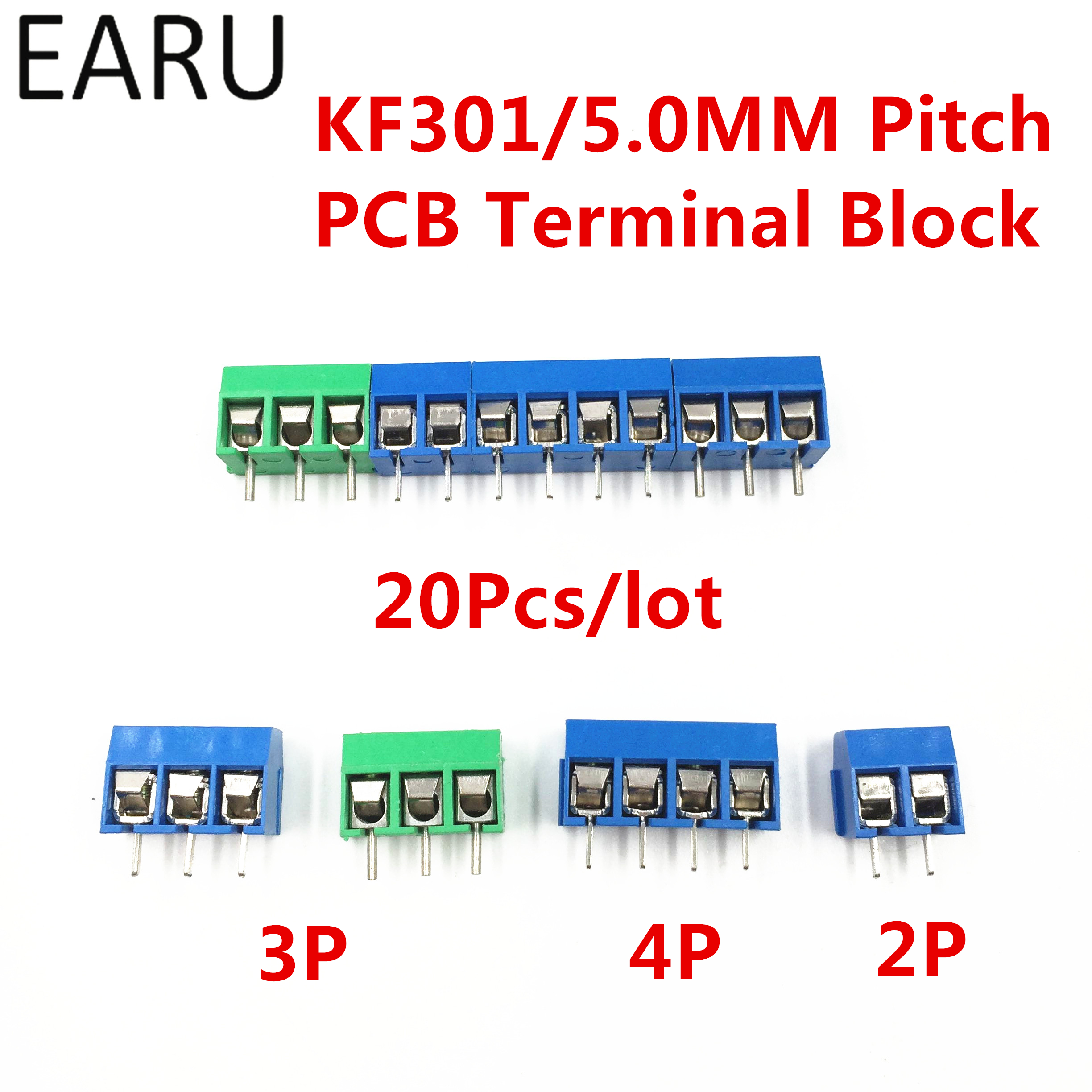 20Pcs/lot KF301-5.0-2P KF301-3P KF301-4P Pitch 5.0mm Straight Pin 2P 3P 4P Screw PCB Terminal Block Connector Blue Green free shipping one lot 50pcs 3 pin way 3 81mm pitch terminal block connector pcb mounted 1v 3 81 3p