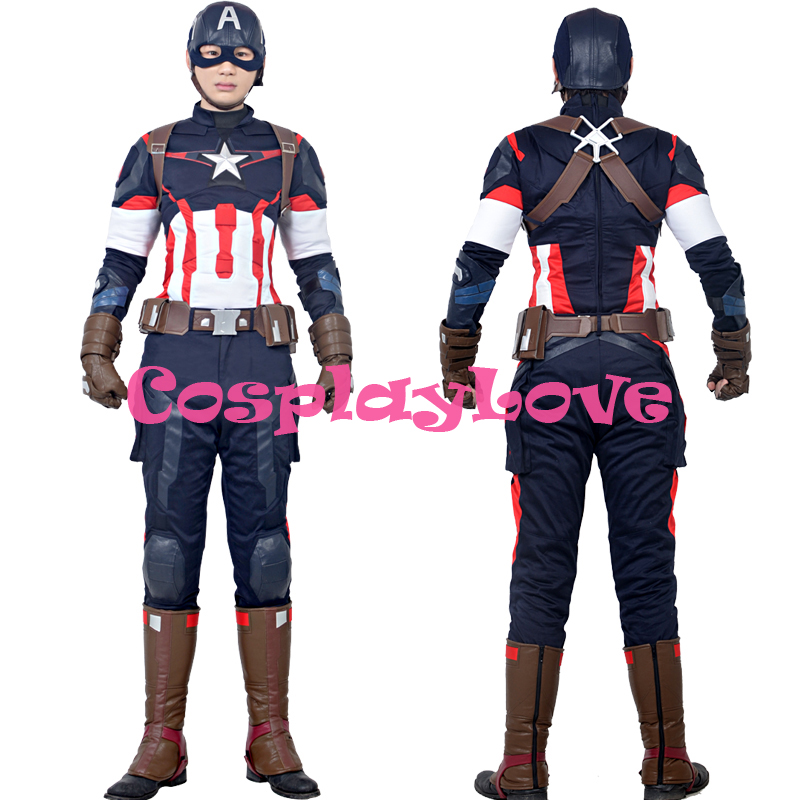 New Custom Made American Movie Marvel's The Avengers 2 Captain America Cosplay Costume High Quality