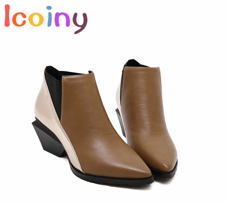 ФОТО Women Retro Martin Boots 2016 Winter Chelsea Boots Female Hit Color Ankle Boots High Quality Knights Short Boot Mujer Zapatos
