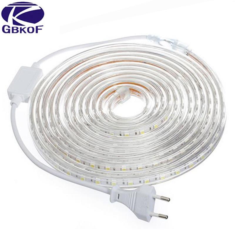 5050 Flexible LED Strip Light AC220V 60leds/m Waterproof IP67 Led Tape LED Light With EU Power Plug 1M/2M/3M/8M/9M/10M/20