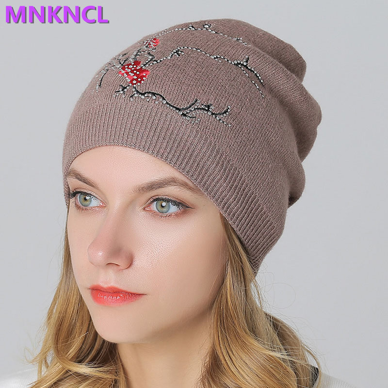 2017 New Diamond Flora Hats & Caps for Women Winter Wool Knitted Skullies & Beanies Rhinestone  Warm Fashion Cap Windyproof men s skullies winter wool knitted hat outdoor warm casual solid caps for men caps hats
