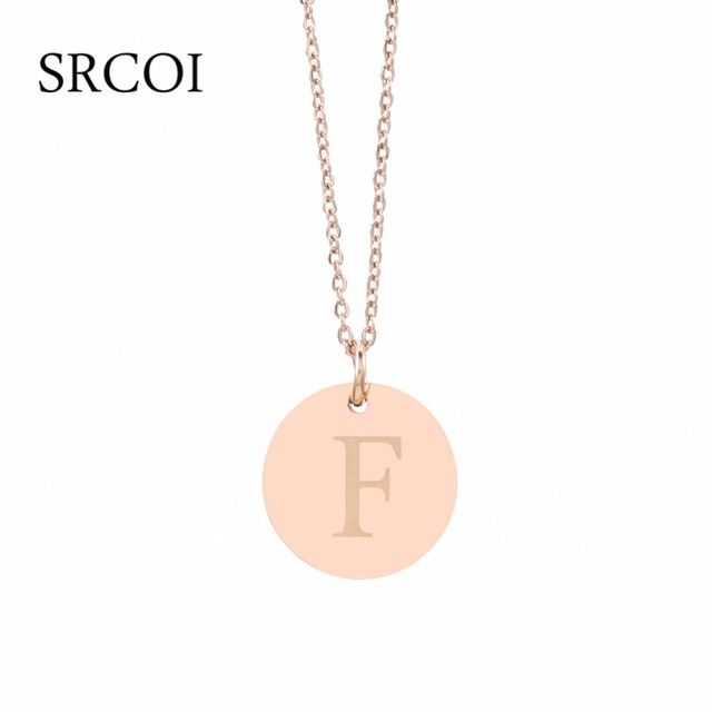 New ladies disc initial necklace gold personalized necklaces custom new ladies disc initial necklace gold personalized necklaces custom engraved name necklace stainless steel jewelry colier aloadofball Image collections