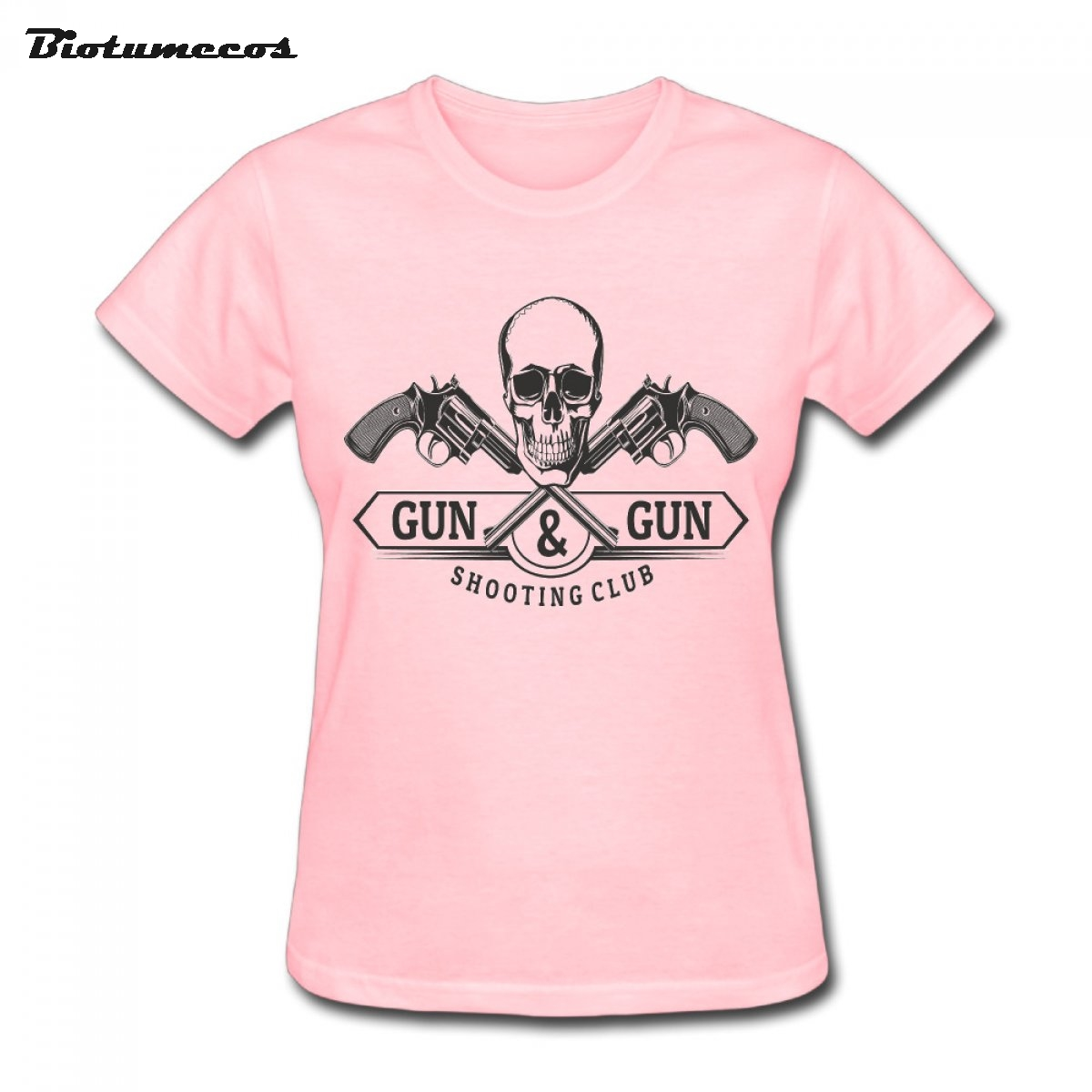 Hot Sales Women T Shirts 100% Cotton Gun & Gun Skull Shooting Club Printed Fashion Clothes Tee Top For Lady WTWQ059