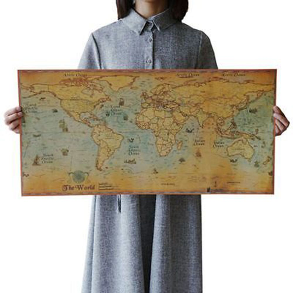 1pcs antique nautical ocean sea retro world map for home decor