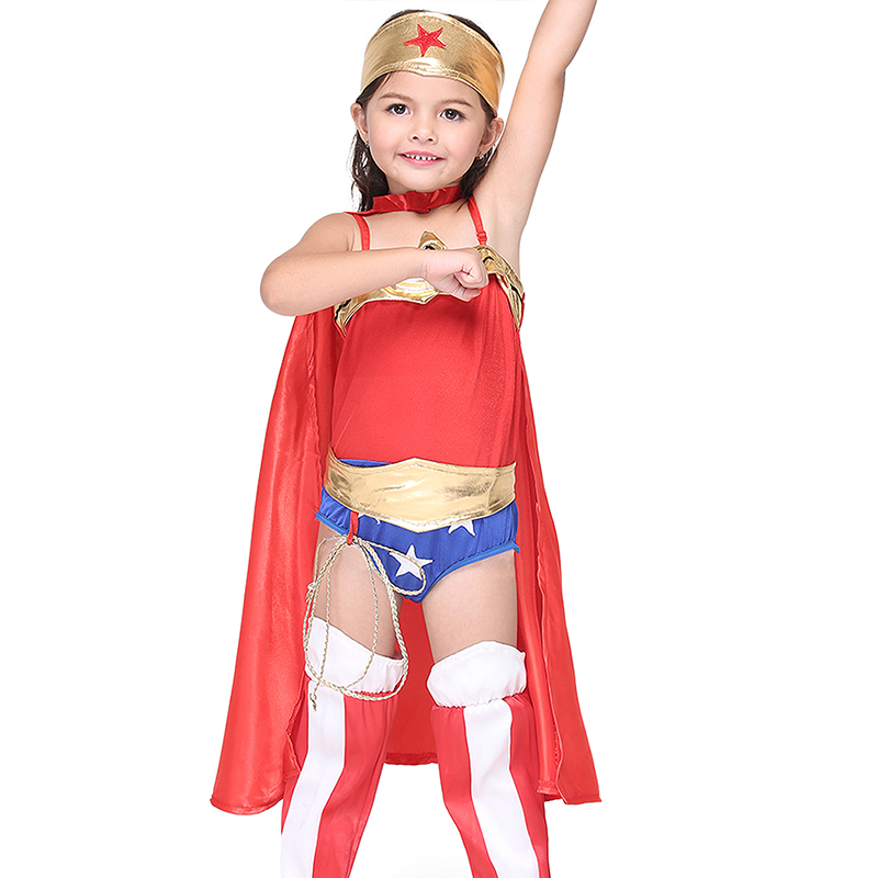 Halloween Superman Wonder Woman Children Party Cosplay -3784