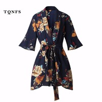 TQNFS Deep Vneck Boho Floral Print Ruffles Playsuits Women Elegant Summer Blue Jumpsuits Rompers Sexy Beach