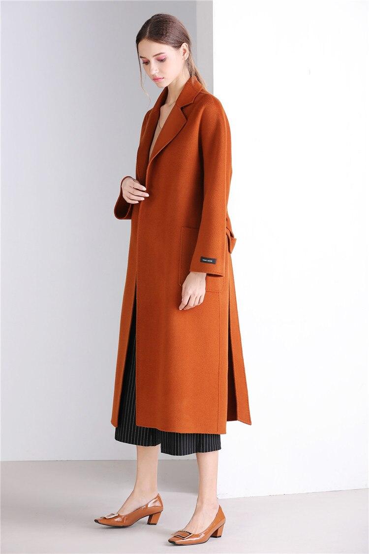 Eupope New Sided Handmade Lapel Lacing Belt Color sólido lana abrigo mujer abrigo 2017 otoño e invierno abrigo Mujer - 2