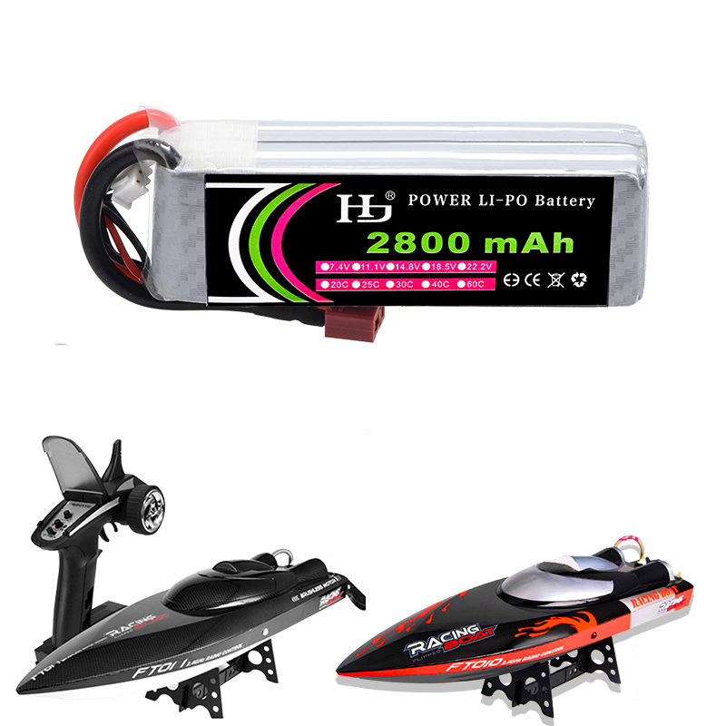 HJ Rc <font><b>Lipo</b></font> Battery 14.8V <font><b>2800mAh</b></font> 30C <font><b>4S</b></font> <font><b>Lipo</b></font> Battery With T/ XT60 Plug for FT010 FT011 Racing Boat / Rc Drone image