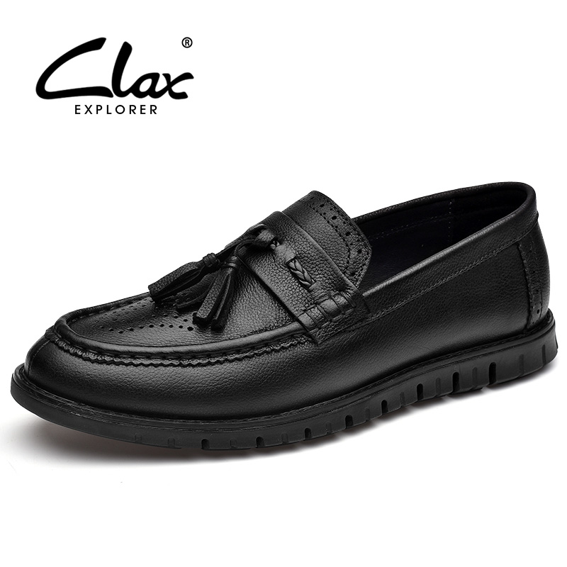 CLAX Men Brogue Shoes Genuine Leather 2018 Summer Autumn Leather Shoes Slip on Male Loafers Casual