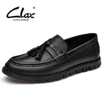 CLAX Men Brogue Shoes Genuine Leather 2018 Summer Autumn Leather Shoes Slip on Male Loafers Casual Shoe tassel Leisure Footwear - DISCOUNT ITEM  30% OFF All Category