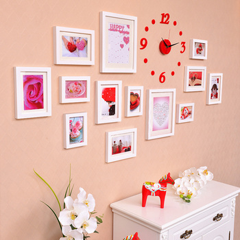 Clock Decoration Wall Hanging Photo Frame Set, 5/7/10 inch Photos Picture Album Kraft For Wedding, Picture Frame porta retrato