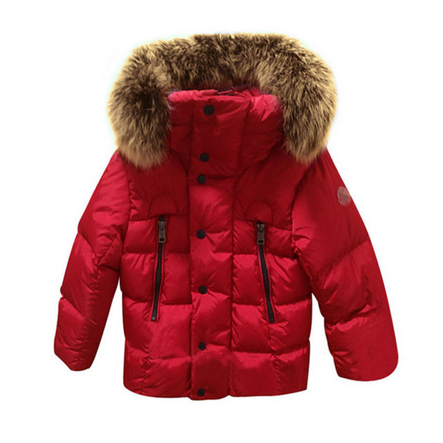 Children Baby Boys  And Girls Coats And Jackets 2017 New Winter  Fur Collar Coat Down By Large Fox Thick Warm Kids  Zipper