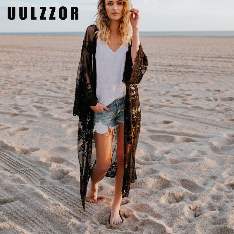 UULZZOR Bohemian Solid Kimono Coat Women Beach Loose Boho Lace Transparent Long Kimono Coats Female Boho Beach Wear Summer 2019