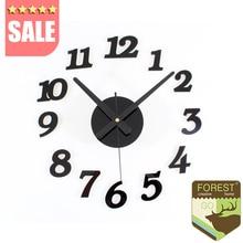 Modern DIY clock large wall clock 3D wall watch fashion acrylic art designs clock home bedroom 3D sticker mute digital colck art
