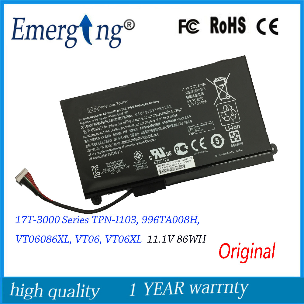 11.1V New Original  Laptop Battery for HP Envy  VT06XL TPN-I103 657240-271 -3000 17T-3000 Series VT06086XL new russian for hp envy x2 11 g000 g003tu tpn p104 hstnn ib4c c shell ru laptop keyboard with a bottom shell